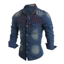 2015 New Fashion Men Jeans Shirt Cotton Slim Fit Brand Casual Denim Shirts Long Sleeve Male Cowboy Shirt Camisa Jeans Masculina(China (Mainland))