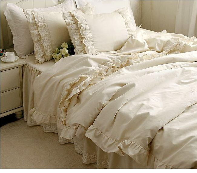 4pcs 6pcs luxury bedding set romantic bedspread lace edge for Housse de couette blanc beige