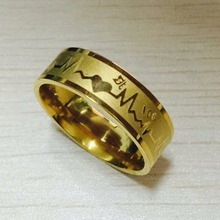 Fashion 8mm falling in love Rings 18K gold plated 316L Titanium Steel solid ECG Heartbeat 100 love ring women alliance