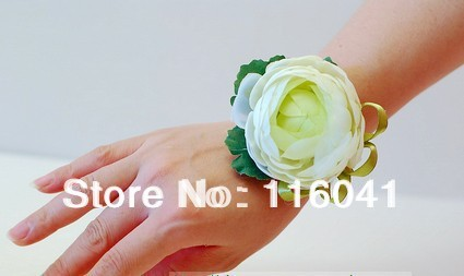 Free Shipping High quality 2pc/lot Tea Rose Flower Prom party wedding Party flower Flower Bracelet bridesmaid Wrist Flower(China (Mainland))