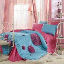 Sweet solid color 100% activated slanting cotton stripe print lovers set of six pieces fitted(China (Mainland))