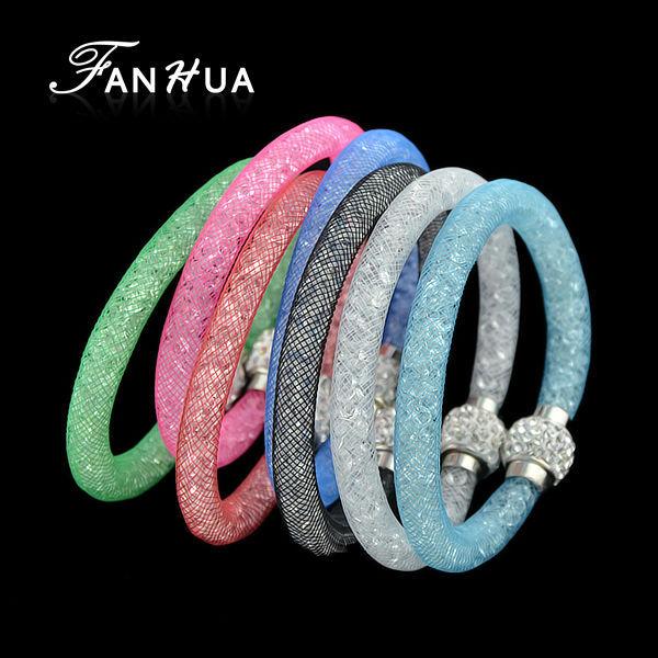 Multicolor Net And Rhinestone Hologram Bracelets Tennis Stardust Chain Bracelet Bangle New Bisuteria(China (Mainland))