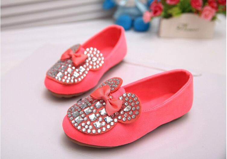 2016 edition children diamond girls single shoes sell like hot cakes,mickey candy color bowknot princess doug shoes(China (Mainland))