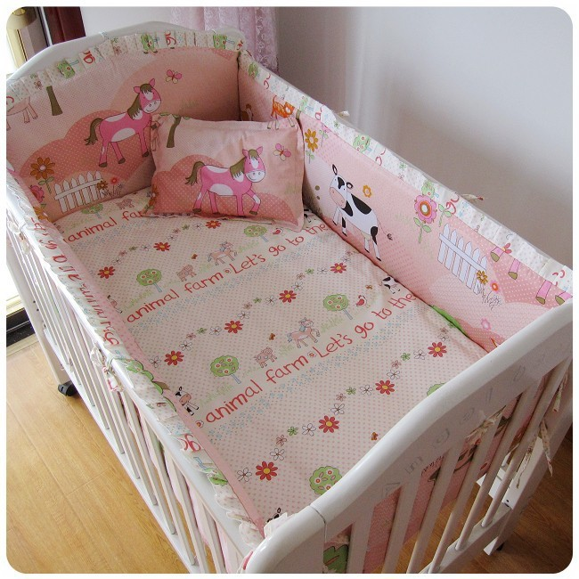 Promotion! 6PCS Unisex 100% cotton baby bedding crib set for baby cute pattern(bumpers+sheet+pillow cover)<br><br>Aliexpress