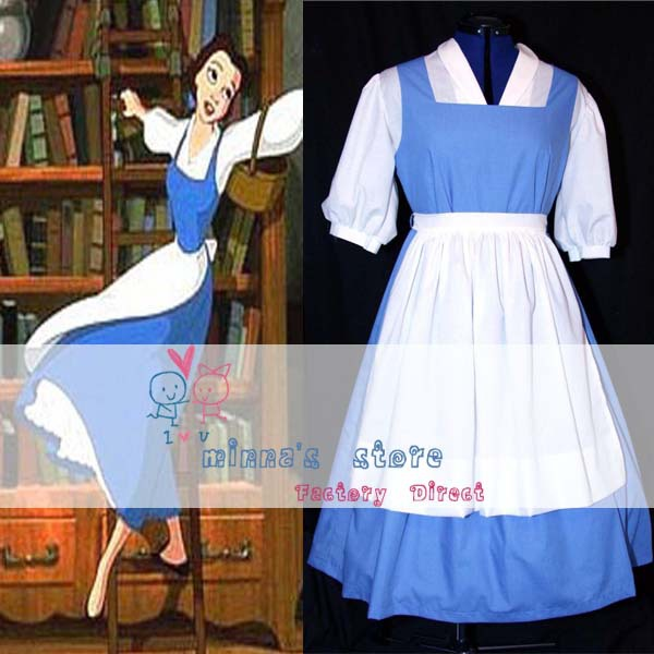 Free shipping Custom made Princess belle blue dress costume Cosplay Village Dress for Halloween(China (Mainland))