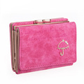 Fashion Simple Foldable Wallet Letters And Small Umbrella Ornament Nubuck Lovely Tri fold Press Button Money