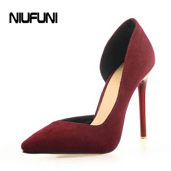 2016 New Two-Piece Pointed Toe Suede Red High Heels Fashion Sexy High Heel Shoes Women Pumps wedding shoes Pumps 6 colors
