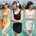 Hot Sale Women Sleeveless Bodycon Cotton Blend Long Tshirt Tank Top Women Vest Free Shipping