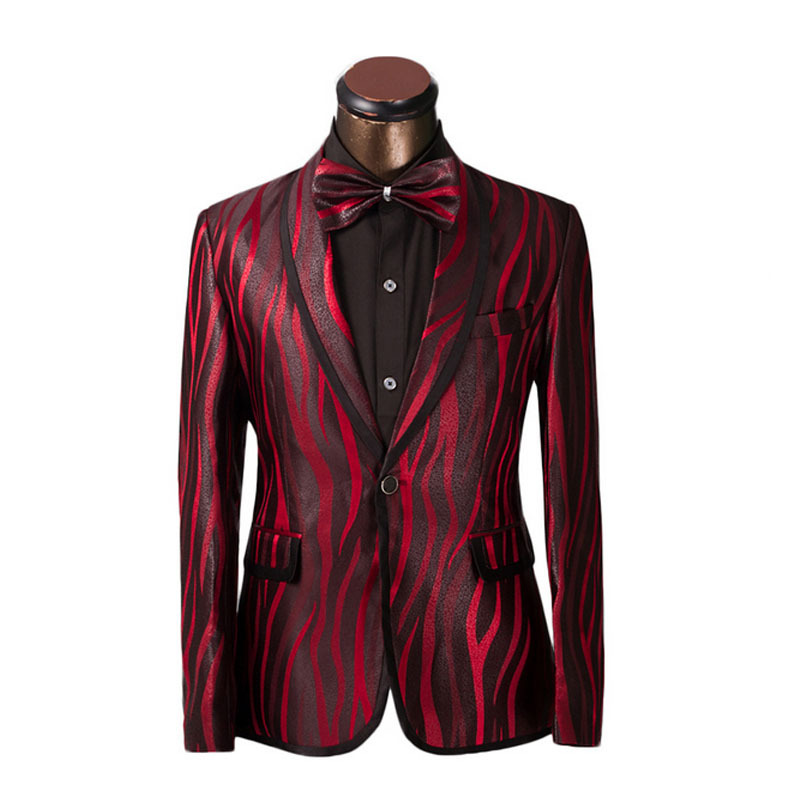 luxury men suit unique red zebra pattern one button suit jacket slim fit prom suits tuxedo brand. Black Bedroom Furniture Sets. Home Design Ideas