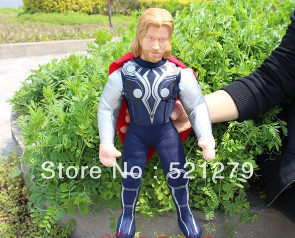 Free shipping 1pcs 38cm Cool Thor Character Model Plush Stuff Toy with PVC Simulation Head for Kids(China (Mainland))