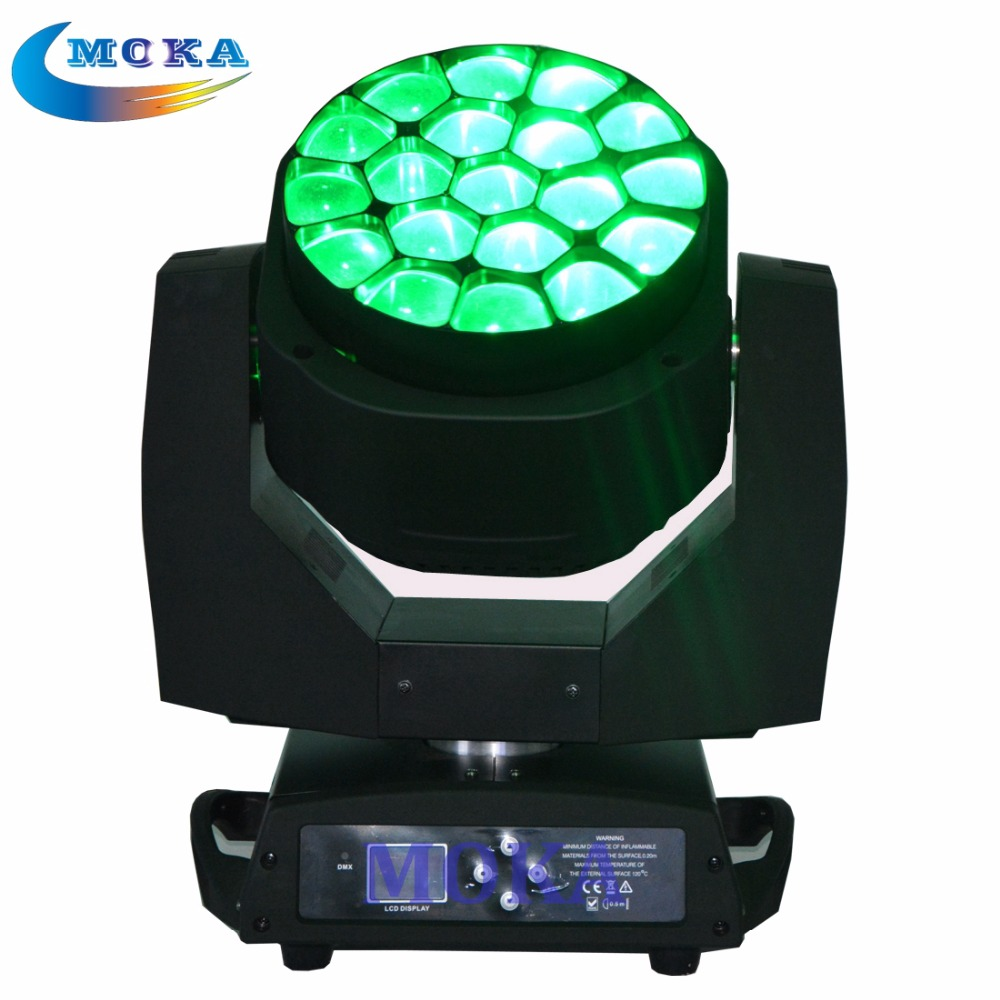 Stage Led Fixture Light Rgbw Zoom 19x15W RGBW Bee Eye Moving Head Light with Flight Case<br><br>Aliexpress