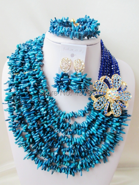 Fabulous! Royal Blue Crystal and Blue Coral Beads Costume Necklaces Nigerian Wedding African Beads Jewelry Set TC162<br><br>Aliexpress