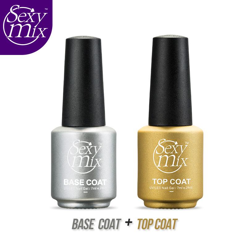 Sexy Mix Hot Professional UV Nail Gel Top Coat Top it off + Base Coat Foundation for UV Gel Nail Polish Safe Natural UV Gel 7ML