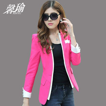 Winter 2014 Korean small Suit Jacket Womens Casual long small occupation occupation suit candy color coat