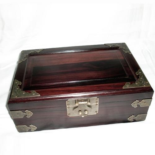 Santenic mahogany box big sandalwood jewelry wood carving sculpture crafts treasure
