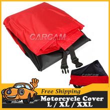 Universal Motorcycle Cover Black Red Breathable UV Rain Dust Weatherproof Motorbike Outdoor Touring Scooter 180T Poly Protector(China (Mainland))