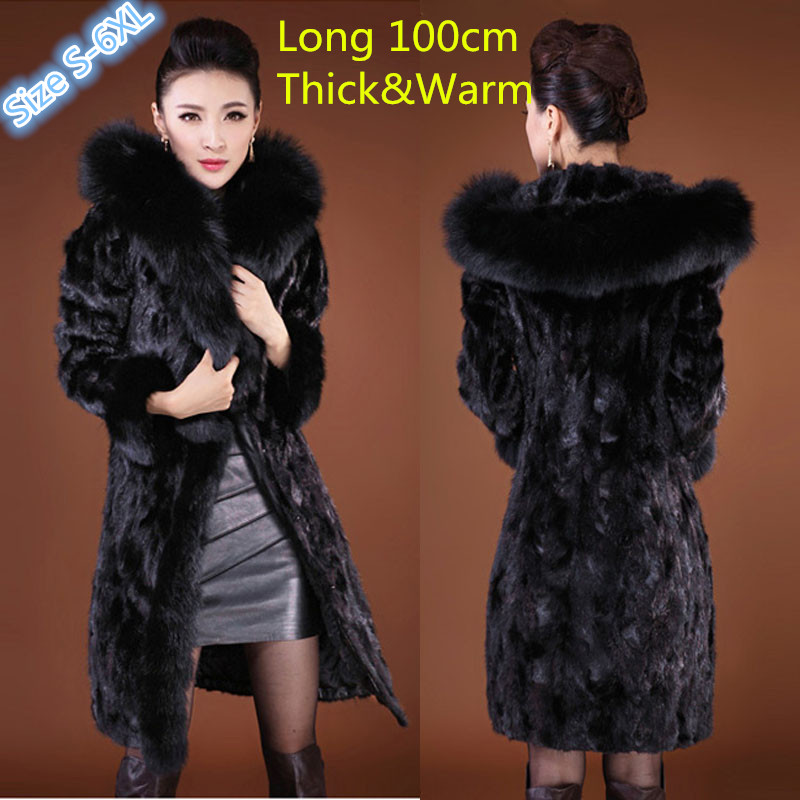Women's Fashion Rabbit Fur Coat with Fox Fur Collar Hooded Outwear Lady Garment Plus Size S-6XL Winter Black(China (Mainland))