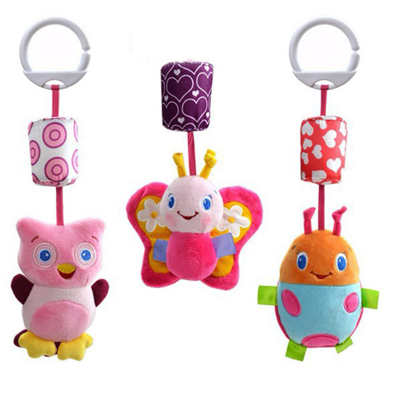 1 Pcs Early Childhood Educational Plush Toys Baby Bed Car Hanging Ring Bell Rattle Toys Animals Plush Doll(China (Mainland))