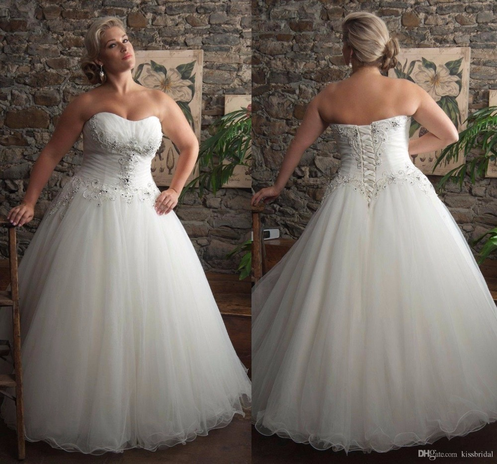 2015 Kissbridal Plus Size Wedding Dress Strapless Lace Up