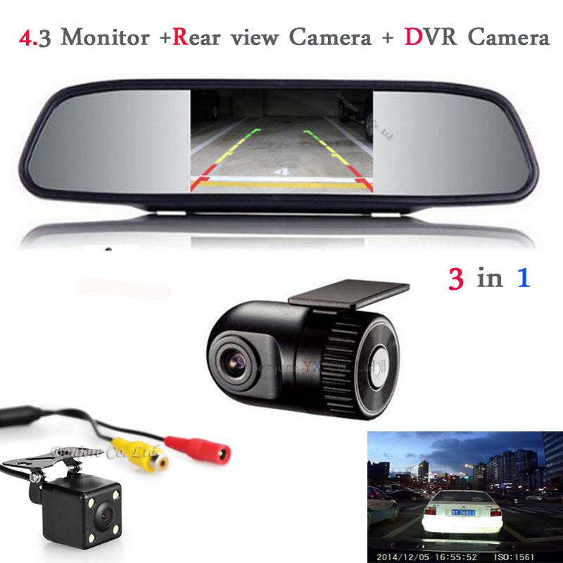 Car Monitor Mirror TFT LCD Display Car DVR Camera Dash Cam Hidden Car DVR Recorder with Rear view camera with monitor Parking(China (Mainland))