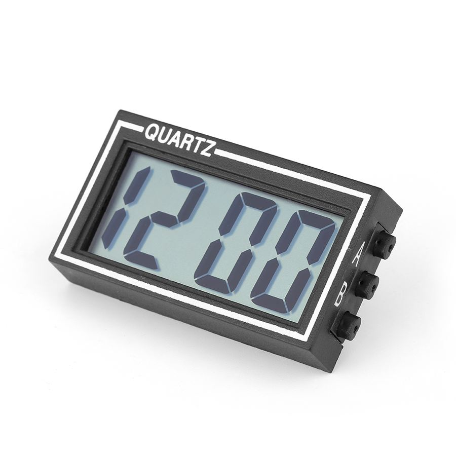 Mini Black Clock Without battery LCD Digital Screen Large Display Clock Auto Car Use Time Date Calendar(China (Mainland))
