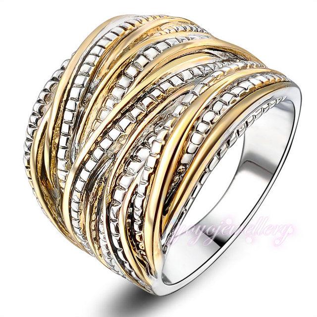 2016 мода кольца для женщин ну вечеринку рок кольца 18 К позолоченные бесплатная ...