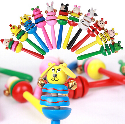 Free Shipping Children's educational toys,Baby toys wooden handbell bell rattles,newborn toy for baby(China (Mainland))