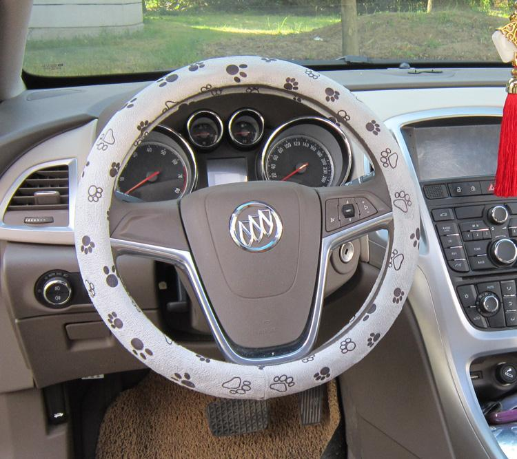 grey color soft cute no bad smell footprint auto car interior accessories steering wheels cover. Black Bedroom Furniture Sets. Home Design Ideas