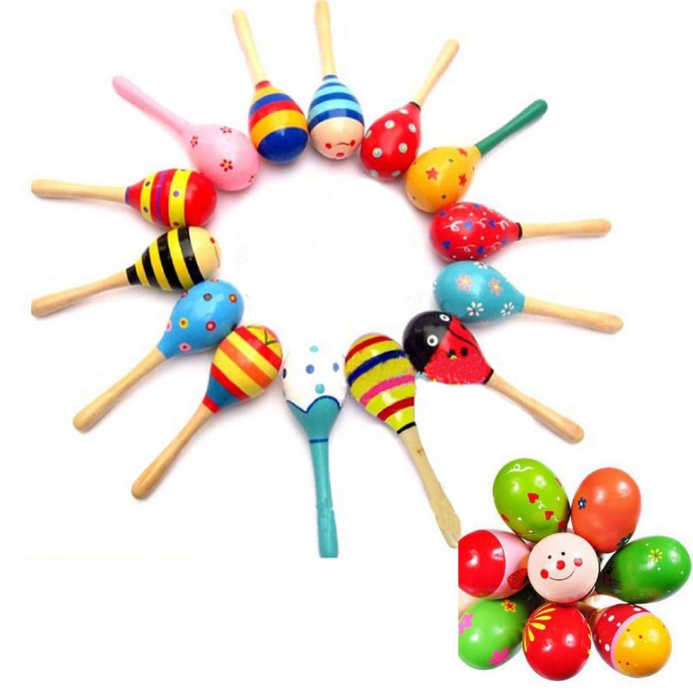 New Hot Wooden Maraca Wood Rattles Kid Musical Party Favor Child Baby Shaker Toy High Quality(China (Mainland))