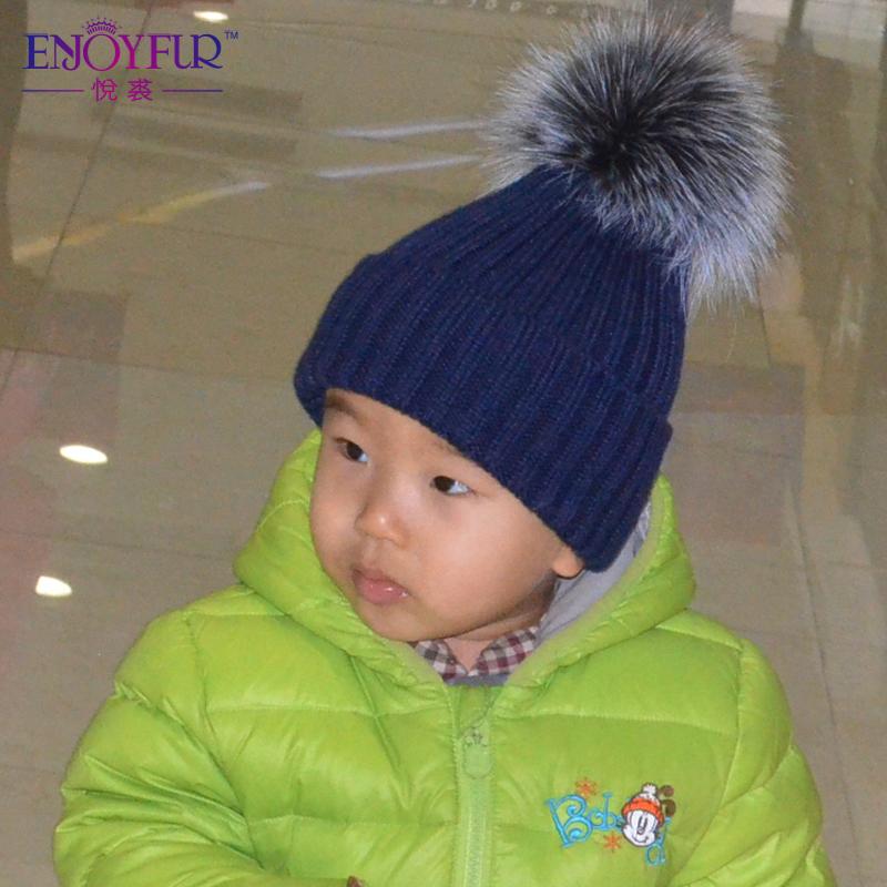 ENJOYFUR Boys Girls Real Fox Raccoon Fur Pom Poms Winter Wool Knitted Kids Hats Baby Caps Good Quality 2016 Hot Sale Kids Caps(China (Mainland))