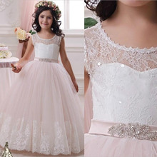 Elegant Lace Flower Girl Dresses 2016 Long Princess Kids Prom Dresses Girl Pageant Kid first communion dresses