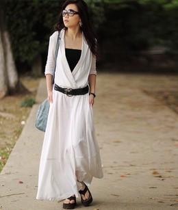 Long sleeved women in the original fan art temperament COTTON SIZE DRESS loose white chrysanthemum big swing dress autumnОдежда и ак�е��уары<br><br><br>Aliexpress