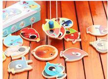 Дети деревянные рыбацкие игрушки с 14 и 2 стержни железный ящик упаковки / дети открытый рыбалка игры обучающие игрушки подарки на день рождения