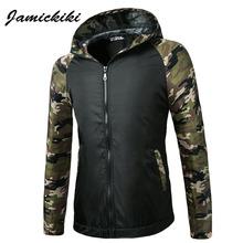 Jamickiki Brand 2016 Winter Jacket Mens Sleeve Camouflage Patchwork Design Zipper Overcoat High Qulity Jaqueta Masculina US Size(China (Mainland))