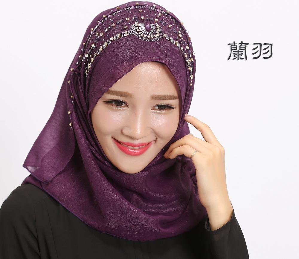 simple design high quality silk women's scarf Muslim headscarf Turkish ...