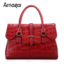 Arangar Luxury Genuine Leather bag women fashion alligator real cow leather designer handbags high quanlity 2016 crossboby bag(Hong Kong)