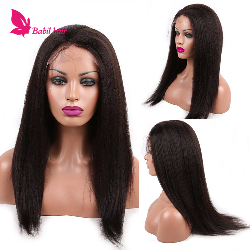 Glueless Kinky Straight Full Lace Wig Brazilian Human Hair Kinky Straight Wig Remy Kinky Straight Lace Front Wig For Black Women<br><br>Aliexpress