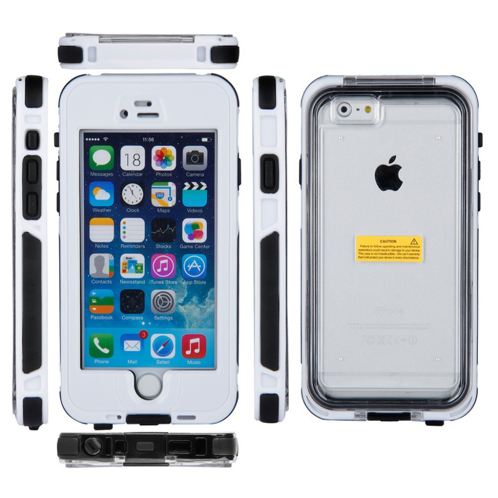 NEW Full Buttons Anti-Dirt Snow Proof Waterproof Case For Ios 6 / 4.7 Inch With Touched Fingerprint Recognition White(China (Mainland))