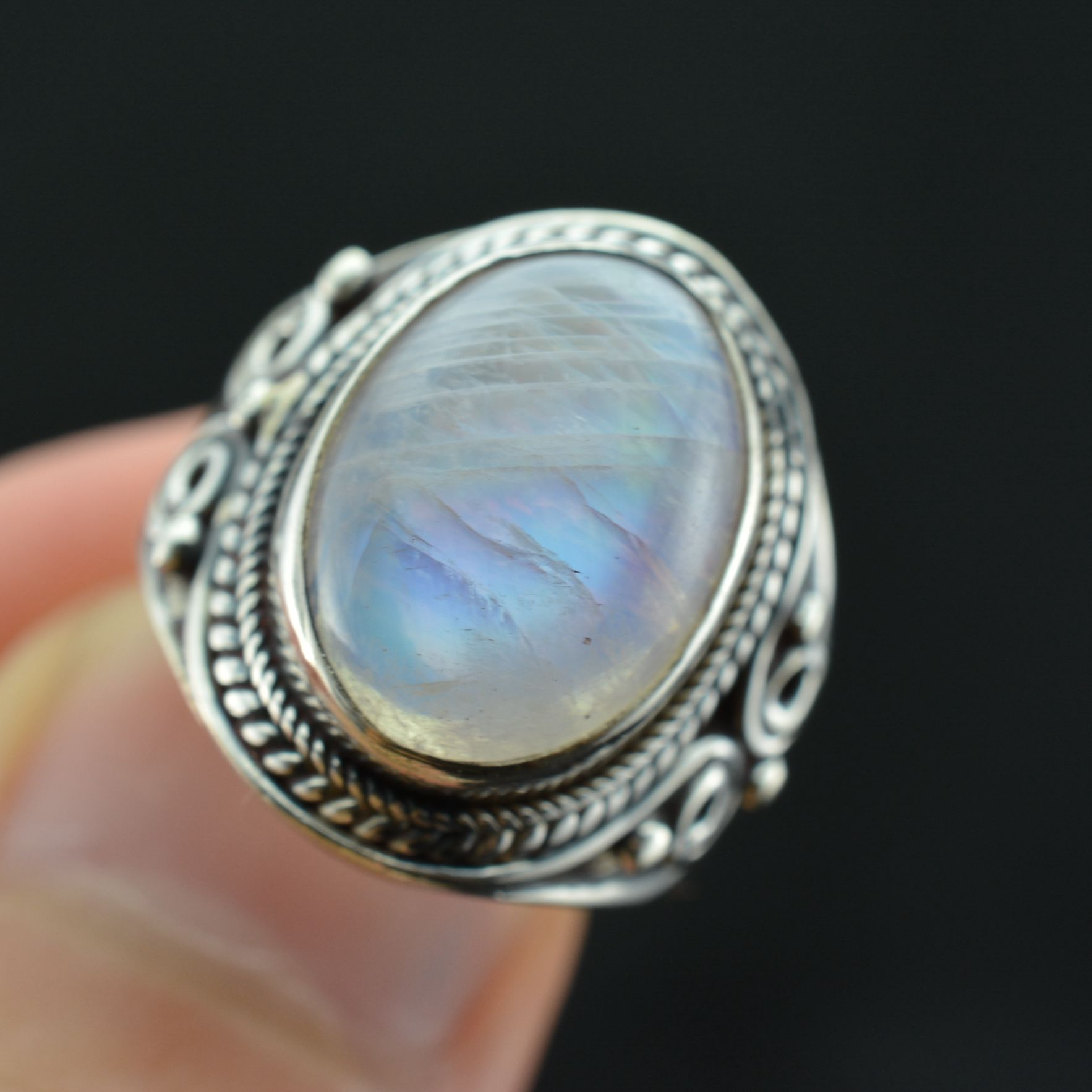 New arrival natural crystal silver antique 925 pure silver moonstone ring 12(China (Mainland))