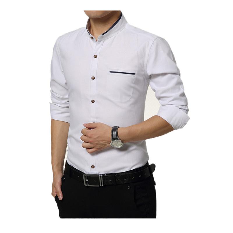 Buy 2016 t he new summer long sleeve men for Dress shirt collar fit