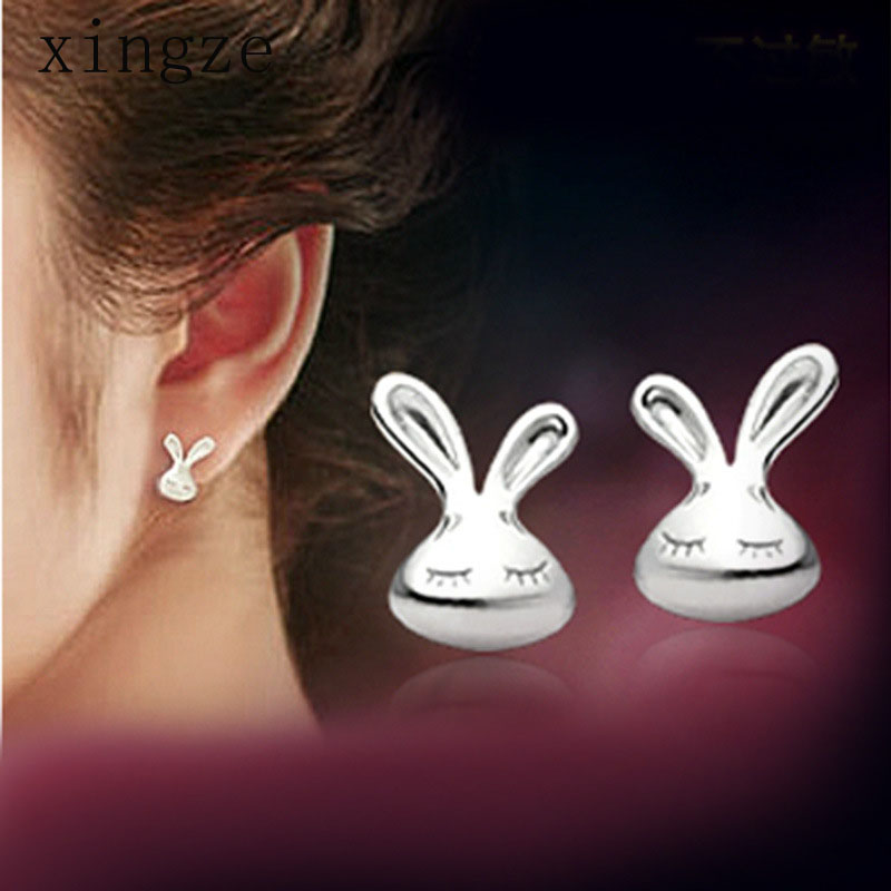 High quality silver plated jewelry small white rabbit silver plated stud earrings for women fine jewelry wholesale(China (Mainland))