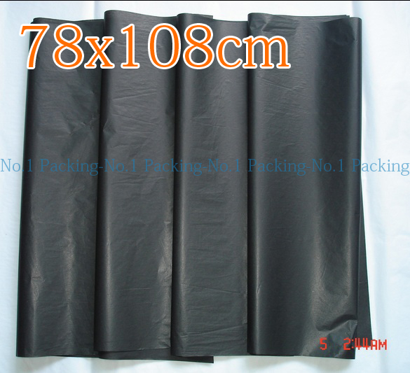 20pcs/lot 78cm*108cm big black color dust-proof Moistureproof clothing Shoes packaging Wine packaging paper tissue paper(China (Mainland))