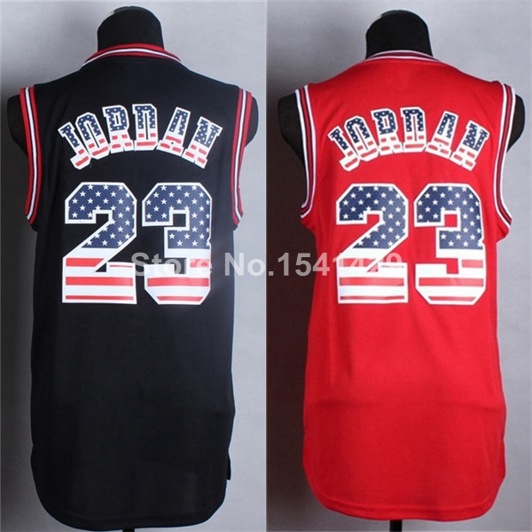 New Arrivals !!!! 2015 Chicago 23 Michael Jordan American Flag Black Red Fashion Stitched Cheap Basketball Jersey, Size: S-XXL(China (Mainland))