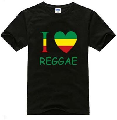 LTS010 Reggae I LOVE Marijuana Style Heart Logo Men T-shirt Rock Band Hip Hop Jamaican T Shirt Men's Punk Music Tops Tees(China (Mainland))