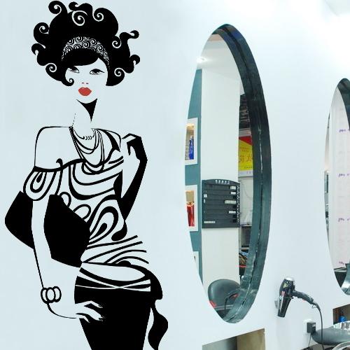 Hot sexy girl hair spa beauty salon bar pub shop wall art - Stickers deco salon ...