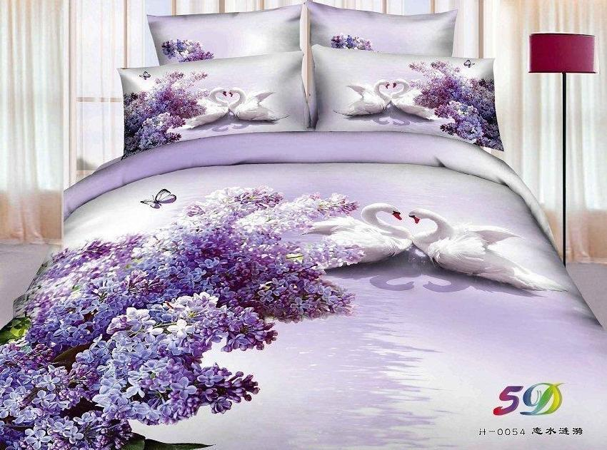 Buy 3d purple swan aqua lilac floral for Lilac and purple bedroom