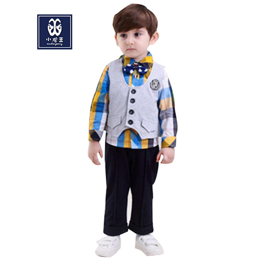 Hot vest+shirt+pants 2016 boutique clothing gentleman style boys Plaid Suits Long Sleeves Kids Formal Clothing Sets(China (Mainland))