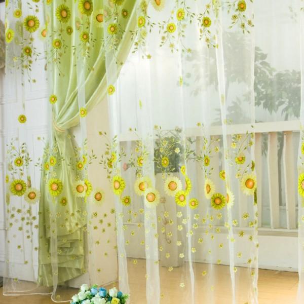 Pastoral Sunflower Tulle Voile Window Curtain Drape Panel Sheer Scarfs Valances Window Scarfs(China (Mainland))