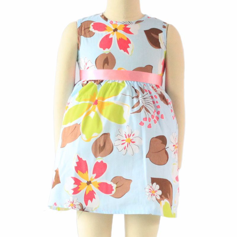 Retail cotton girl dress floral print pink bow belt sleeveless O-neck baby girl clothes kids dresses for girls ropa de ninas(China (Mainland))