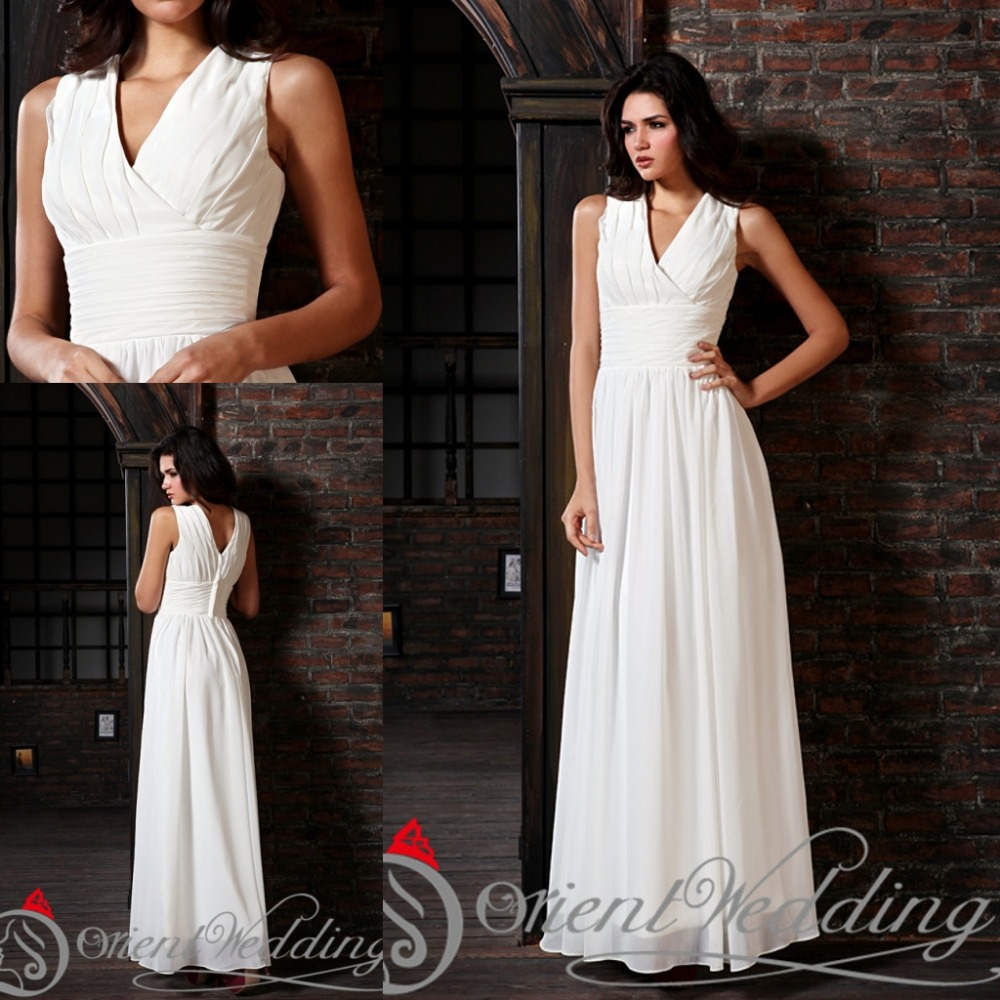 2015 simple elegant white wedding party dresses beach v for Elegant wedding party dresses